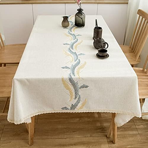 Tovaglia di lino di cotone spesso di alta qualità Tovaglia di tovaglia di nozze ricamata spessa a prova di olio di pizzo selvatico 140x220 cm grano blu