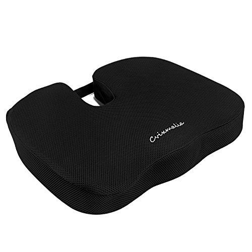 Cojín de asiento de espuma viscoelástica antideslizante para silla de oficina, asiento de coche, silla de ruedas, yoga y viajes, alivio del dolor de espalda, cadera y coxis