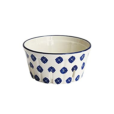 American Atelier 6469-BSKT5R Stamp Large Round Ceramic Berry Basket, Blue