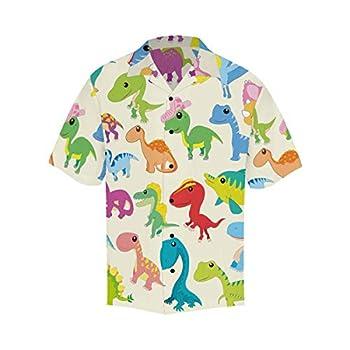 InterestPrint Men s Casual Button Down Short Sleeve Hawaiian Shirt Cartoon Dinosaur XXL