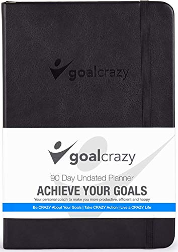 Goal Crazy Undated Planner - 90 Day Guided Journal, 2020 2021 Weekly Organization, Productivity Habit Tracker, Inspirational, Life Setting, Black Leather, Almond Pages