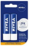 NIVEA Essential Baume à Lèvres (2 x 4,8 g), Hydratant intensif à Lèvres avec Huile de Jojoba, Avocat Naturel et Beurre de Karité, Hydratation 24H