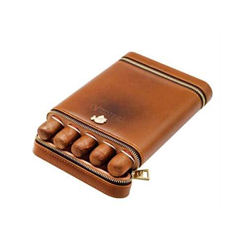 KANJJ-YU Caja de cigarros, portátil, portátil cigarro Humidor, sólida caja de madera 5 palos, Portátil caja de cigarrillo del cuero madera de cedro del cigarro, 5 caja de cigarros buen humor, buena vi