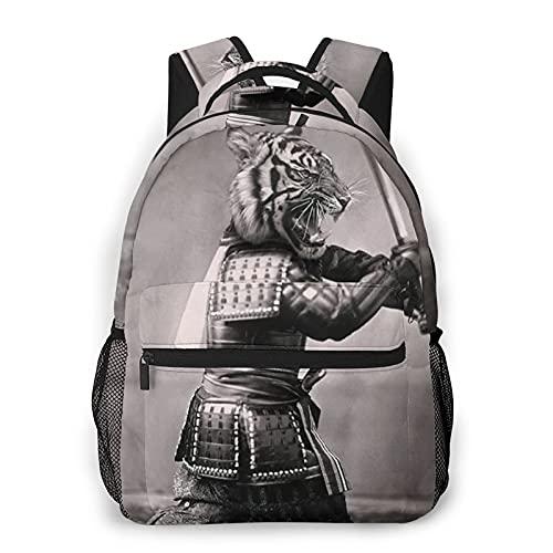 Zaino per laptop da viaggio,Cool Tiger Samurai Sword Arte fotografica digitale,Zaino per computer da lavoro antifurto resistente all'acqua di grandi dimensioni Slim durevole College School Bookbag