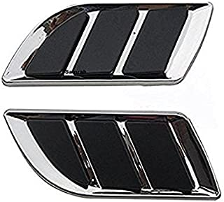 LAXON PACK OF 2 Pcs Decorative, Stylish Car Turbo Bonnet Hood Side Vent Grille Cover Sticker(CHROME) for Swift/Maruti 800/Alto/wagonr/Hyundai/volkswagon