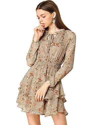 Allegra K Women's Floral Smocked Waist Tie Neck Layered Chiffon Mini Dress Small Dark Beige