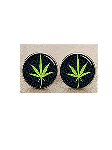 Boutons de manchette rasta feuille de cannabis pour homme