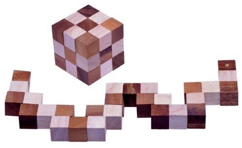 LOGOPLAY Schlangenwürfel 3x3 Gr. M - 6x6x6 cm - Snake Cube - Würfel Schlange - 3D Puzzle - Denkspiel - Knobelspiel - Geduldspiel - Logikspiel aus edlem Holz