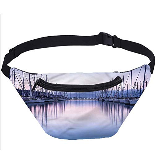 Sailboat Fanny Pack Bag,Yacht Harbor in Sunrise Running Travel Sports Bags for Men Women Coworker