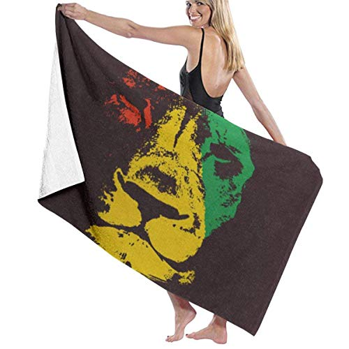 Yaxinduobao Microfiber Soft Large Toallas de baño para Ducha Toallas de Playa Bath Washcloths Toallas de baño Green Marley Lion Head Rasta Red Bob Reggae Judah Jamaica Color