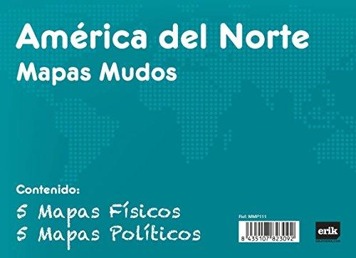 Grupo Erik - Pack 10 Mapas Mudos America Del Norte Politica Fisica