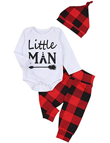Newborn Baby Boy Girl Clothes New to The Crew Print Romper Plaid Pants + Cute Hats 3pcs Outfits Sets (A-White, 12-18 Months)