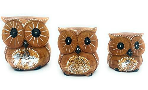 Set de 3 Buhos de Madera, Decoracion, Tallado a Mano, Buho de la Suerte, Idea de Regalo, Artesania Adorno Mueble (Marron - Detalles Plateados, 3)