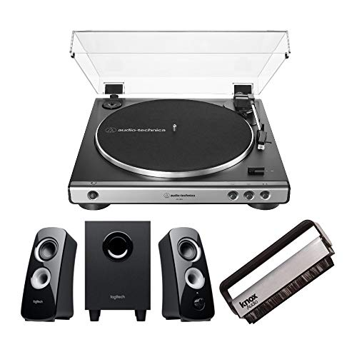 Audio-Technica AT-LP60X-GM Turntable with Logitech Z323 Satellite Speaker System and Knox Gear Vinyl Brush Cleaner Bundle (3 Items)