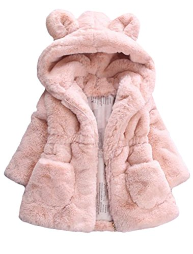 Mallimoda Girls Winter Warm Coats Ear Hooded Faux Fur Fleece Jacket Pink 7-8 Years