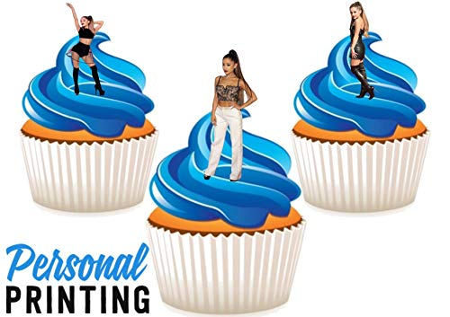 PP - Ariana Grande Pop Muziek Trio Mix 12 Eetbare Stand up Premium Wafer Card Cake Toppers Decoraties