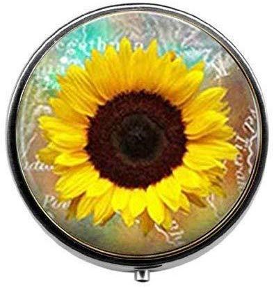 Pillendose mit Sonnenblumen-Motiv, für Fotos und Pillen, aus Glas