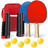 Set da ping pong da tavolo, set da ping pong con rete, 2 racchette da ping pong, 6 palline da ping pong, 1 rete allungabile, 1 borsa portatile, ideale per principianti, allenamenti in viaggio