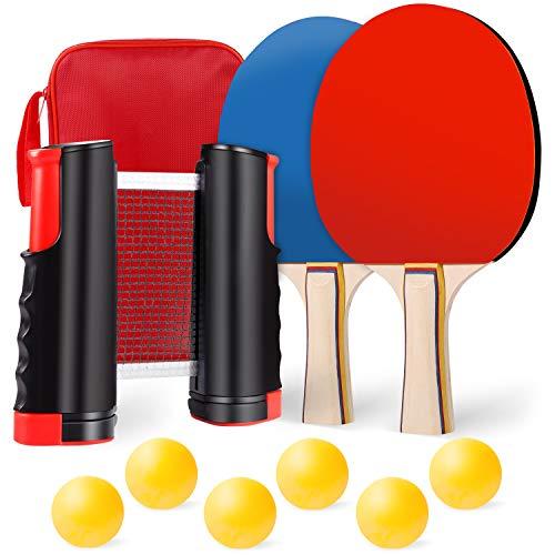 Tischtennis Set, Tischtennisschläger Set, Tischtennis Set Mit Netz, 2 Tischtennis-Schläger, 6 Tischtennisbälle, 1 Ausziehbares Tischtennisnetz, 1 Tragbare Tasche, Ideal für Anfänger,Training,Unterwegs