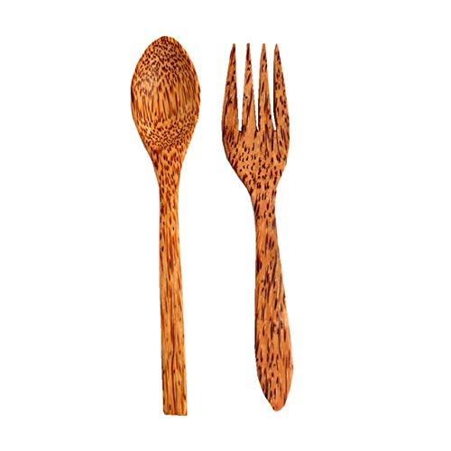 Fashion SHOP Cuchara Palma de Coco orgánica de Madera Cubiertos de bambú Natural de Madera de Coco Cuchara Tenedor Palillos por cáscara de Coco Cuenco de Coco Cubiertos Durable (Color : Fork Spoon)