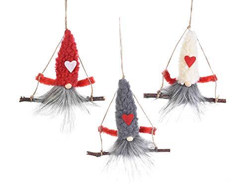 Gruppo Maruccia Gnomi Natalizi su Altalena Decorazione da Appendere per Il Natale Confezione da 12 Pezzi Idea Regalo
