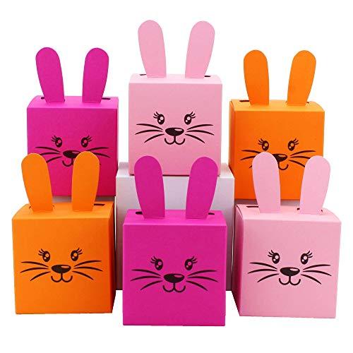 PaPIerDraCHeN 12 scatole Coniglietti pasquali con Orecchie, Pompon e musetto Stampato - 7cm x 7cm - Rosa e Arancio - Cestino Pasquale per Ragazza