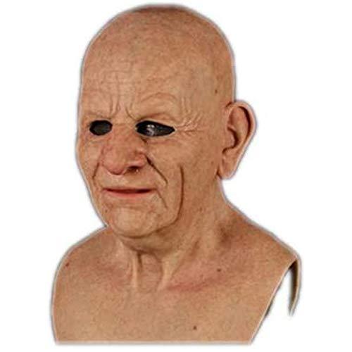 GPYONCT Máscara de Anciano de látex Realista, Casco de Anciano, Disfraz de Cosplay Masculino para Disfraces de Halloween (E)