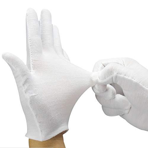 HXXBY 165/5000 Weiße Baumwollhandschuhe, 12 Paar BESTZY Cosmetics Moisturizing Therapeutische Handschuhe dünn dunkelBaumwollHandSchuhe weiche elastische Arbeiten Cotton White Glove