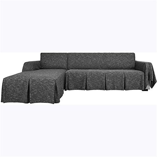 Funda de sofá seccional en forma de L, 2 piezas de lino, protector de sofá con volantes gruesos (negro, 2 asientos derechos)