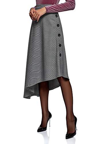 oodji Ultra Mujer Falda Midi con Parte Inferior Asimétrica, Gris
