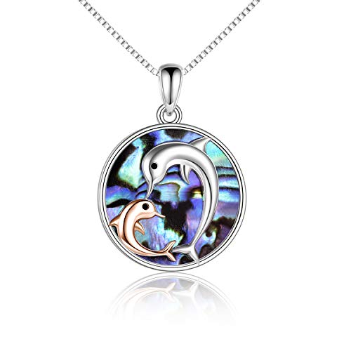 Dolphins Jewelry Sterling Silver Rose Gold Plated Love Heart Dolphin Pendant Necklace Gifts for Women Mom Daughter
