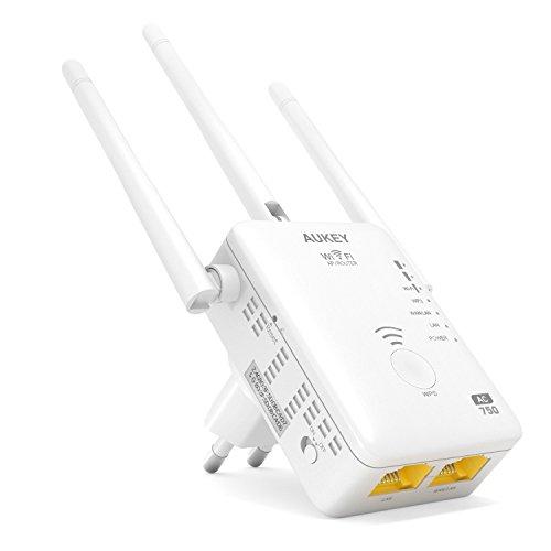 AUKEY WF-R7 Ripetitore WiFi Dual Band 750Mbps 802.11ac 3 Antenne Esterne Range Extender Universale con Cavo Ethernet RJ45...