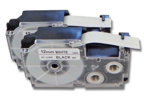 vhbw 2 x Kassette Patronen Schriftband 12mm kompatibel mit Casio KL-60, KL-7000, KL-70E, KL-7400, KL-750E, KL-780 Ersatz für Casio XR-12WE1, XR-12WE.