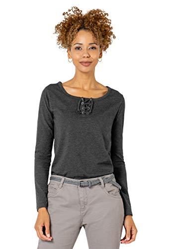 Sublevel Damen Basic Langarm-Shirt mit Kordeln Rundhals Dark-Grey L