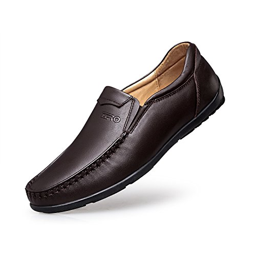 ZRO Mens's Casual Moc-Toe Stitching Leather Loafers Shoes Lace Up Dark Brown US 6