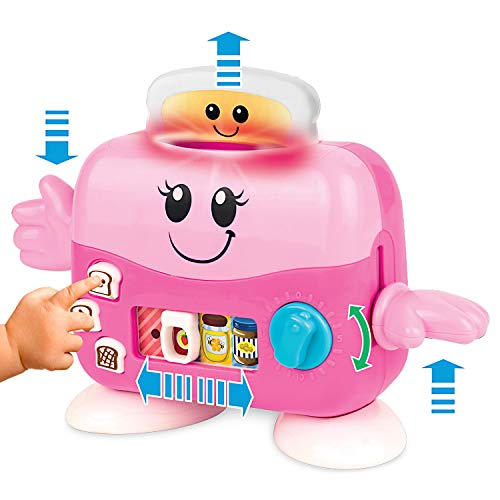 Pretend Play Toaster - Musical Pop-up 'Mrs Toaster' with Lights and Music. Toy Kitchen Accessories for Pretend Play. Pink Toy Toaster for Toddlers 1 Year Old Up. Bread, Jam, Peanut Butter and More.