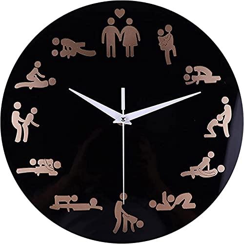 Reloj De Pared Redondo con Batería Silencioso Sin Tic Reloj De Madera Fácil De Leer Sala De Estar Dormitorio Decoración del Hogar para Niños