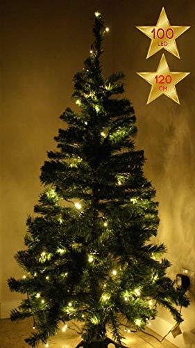 Baltico 120 cm künstlicher Weihnachtsbaum mit 100er LED Lichterkette Warmweiss Tannenbaum Christbaum