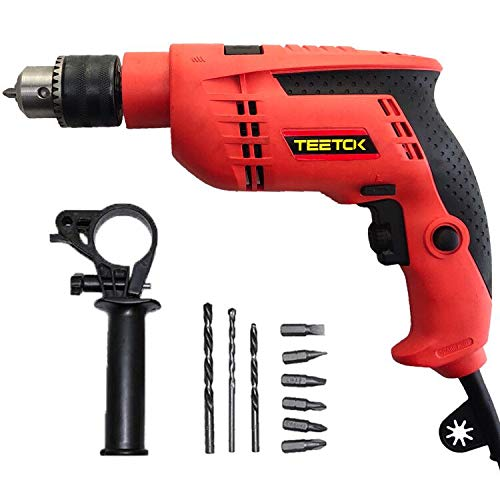 Rotary Hammer Drill, Heavy Duty Electric Impact Drill, Percussion Drill 13mm Metal Chuck with Drill Bits Set, 0-3000RPM Variable Speed for Drilling in Wood, Metal, Concrete.