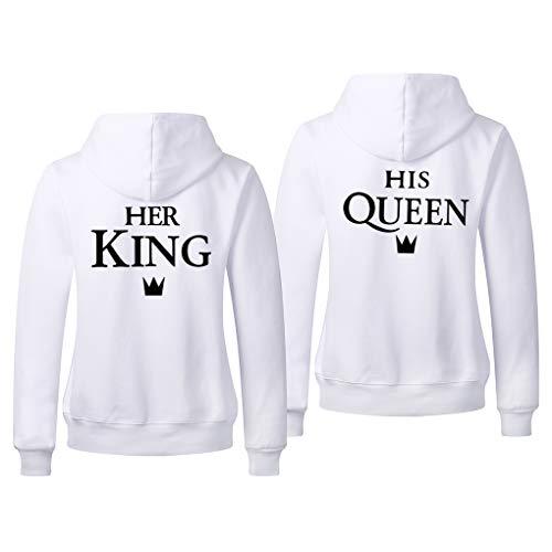 Pareja King Queen Sudaderas con Capucha Manga Larga Encapuchado Jersey Pull-Over para Hombre y Mujer Pareja Sudaderas Rey y Reina Hoodies Negro Blanco Gris 1 Pieza
