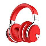 COWIN E7 Active Noise Cancelling Headphones Bluetooth Headphones with Microphone Deep Bass Wireless Headphones Over Ear, Comfortable Protein Earpads, 30 Hours Playtime for Travel/Work, Red