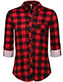 JSCEND Womens Plaid Flannel Roll Up Long Sleeves Button Down Collared Shirt A_REDBLACK 2XL Plus Size