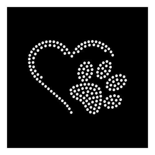 Strassmotiv - kleine Pfote im Herz ca. 5 x 7 cm zum Aufbügeln aus Strass
