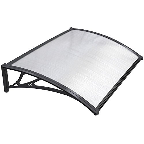 Yaheetech Outdoor Cover Door Window Garden Canopy Patio Porch Awning Shelter - Multiple Size & Colour,Black, 120X76cm