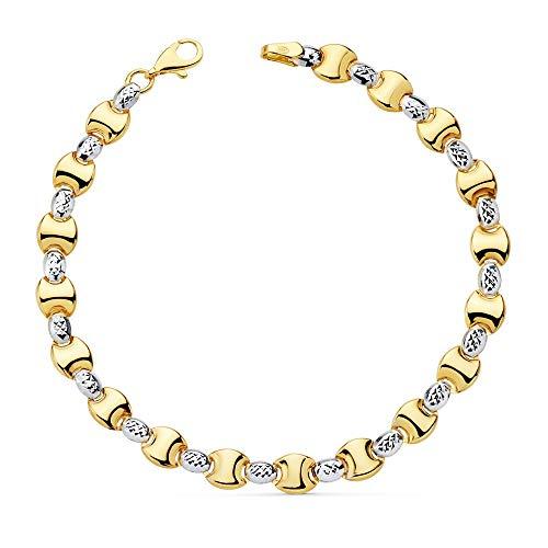 Pulsera Oro Bicolor 18K Estampación Semirrígida 19cm Eslabones Liso Brillo Ovales Tallados Mosquetón