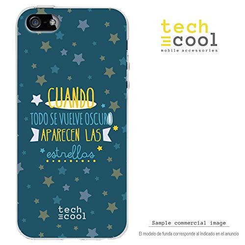 Techcool Funda Silicona para iPhone 5 / 5S / SE [Gel Silicona Flexible [Diseño Exclusivo, Impresión Alta Definición] Frase Cuando Todo se vuelve Oscuro Fondo Azul