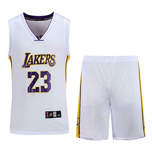 Männer Basketball Uniform Set Nab Lakers # 23 Basketball Jersey Klassische Stickerei Basketball Ärmelloses Top & Shorts Mesh Polyestergewebe XS-3XL-White-S