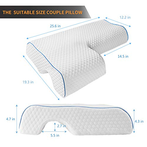 EMOSEONY Couples Pillow,Cuddle Pillow for Couples,Anti Pressure Arm Pillow for Adults,Arched Cuddle Cervical Pillow for Neck Pain Relief,Anti Pressure Arm Pillow for Side Sleepers (R+2 Pillowcases)