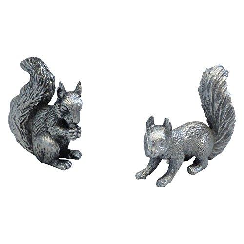 Zinngeschenke 2 Eichhörnchen aus Zinn von Hand patiniert, vollplastische Setzkastenfigur, Vitrinenfigur, Sammlerstück, Zinnfiguren.