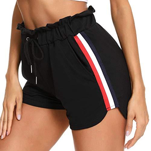 Doaraha Pantalones Cortos Deportivos para Mujer, Pantalón Corto de Chándal de Mujer, Pantalón Verano de Cintura Elástica Ajustable con Bolsillos, Pantalón Corto para Yoga Casual Gimnasio, Negro, XL